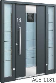 grey contemporary aluminium front door with glass insert