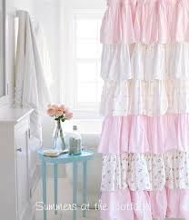 white ruffle shower curtain. Shabby Chic Beach Cottage Shower Curtains White Ruffles Pink Roses Crystal Curtain Hooks Ruffle