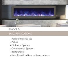 bi 60 slim electric fireplace indoor outdoor amantii electric fireplaces