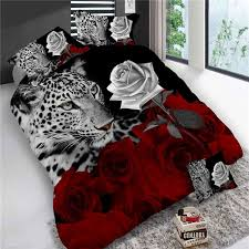 4pcs king size luxury 3d rose bedding sets red color bedclothes comforter cover set wedding bed