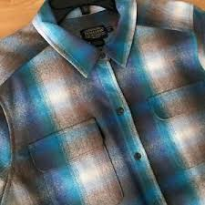 Pendleton Shirt Size Chart Details About Womens Pendleton Board Shirt Nwt Blue Grey Ombre Shadow Plaid Wool Petite Xl