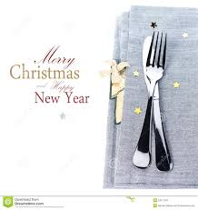 Christmas Table Place Setting With Christmas Decorations In