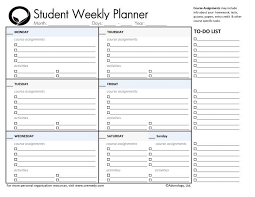 weekly assignment template day planner printable student planners student daily planner