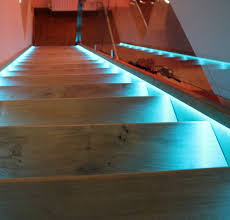 led strips light bannister rail and stair tread edge