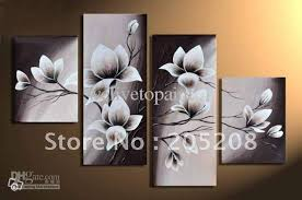 >2018 framed 4 panels huge black and white wall art flower tulip oil  2018 framed 4 panels huge black and white wall art flower tulip oil painting on canvas picture xd00390 from welivetopaint 170 86 dhgate com