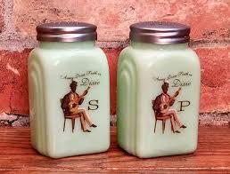set of jadeite art deco vintage green milk glass dixie salt pepper shakers