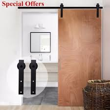 ship from us lwzh country style sliding barn door black carbon steel j