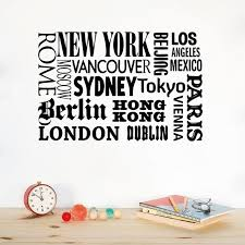 new york london paris quote wall sticker world city names vinyl wall decal art diy home on city names wall art with new york london paris quote wall sticker world city names vinyl wall
