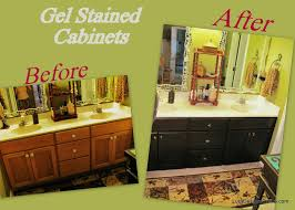 how to use gel stain diy gel stained master bath cabinet makeover