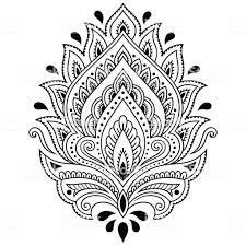 татуировка хной цветы шаблон в индийском стиле лотос этническим