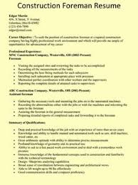 Construction Superintendent Resume Templates Road Construction Foreman Resume 72 Best Career Specific Resumes