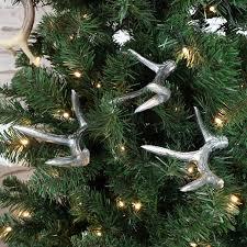 set of 3 silver antler decorations