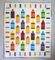 7 Back-to-School Themed Quilt Patterns & Quilt Featuring Colored Crayons Adamdwight.com
