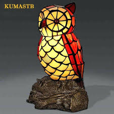 stained glass owl stained glass owl table lamp quality bedside owl desk lamp creative gift for stained glass owl