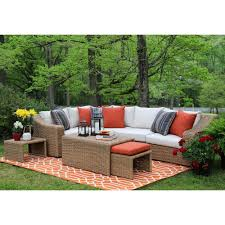 outdoor sectional home depot. AE Outdoor Arizona 8-Piece All-Weather Wicker Patio Sectional With Sunbrella Fabric White Home Depot