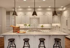 ... Contemporary Kitchen With Darien Metal Pendants Over The Kitchen Island  Pendant Light Kitchen Island ...