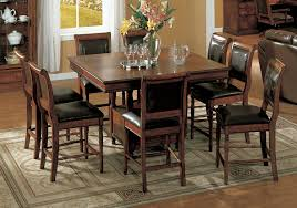 high pub style table and chairs bar kitchen classic varnished wooden dining set combined hardwood floor well top stools with room simple storage industrial