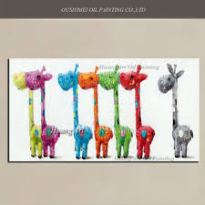 handmade lovely 7 giraffe oil painting children room decor wall painting on canvas modern colorful rainbow