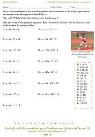 vertex form of a parabola worksheet answers