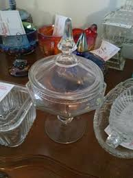glass candy dish with lid please wait image to enlarge