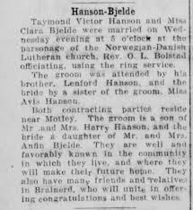 Hanson-Bjelde Marriage - Newspapers.com