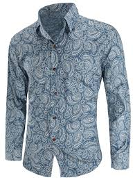 Patterned Button Up Shirts Fascinating 48 Paisley Printed Button Up Shirt BLUE L In Shirts Online Store