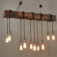 edison lights pendant farmhouse style dark distressed wood beam large linear island light bulbs bulb hanging