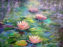 canvas prints painting waterlilies by madeleine holzberg