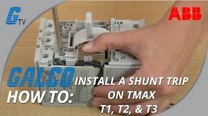 how to install a shunt trip on an abb tmax series t1, t2, & t3 Shunt Trip Coil Diagram how to install a shunt trip on an abb tmax series t1, t2, & t3 enclosed circuit breaker youtube shunt trip coil circuit breakers