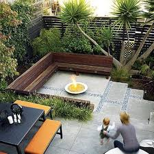 Round Fire Pit And Concrete Patio For Modern Landscaping Ideas For ...