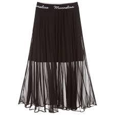 Fashion Design Skirt Black Pleated Chiffon Skirt