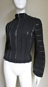 moschino wool jacket with leather piping in excellent condition for in new york ny