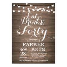 Electronic Birthday Invite Rustic 40th Birthday Invitation Wood