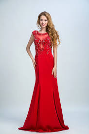 Bateau Evening Dresses Red Long Evening Dresses Red Prom Dresses