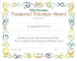 Certificate Of Appreciation Volunteer Work Girl Scout Award Certificate Templates Volunteer Of