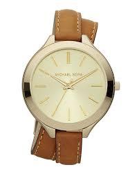 michael kors double wrap leather watch golden