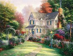 thomas kinkade landscape art painting reion cottage in spring garden canvas prints any size accepted