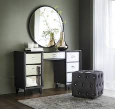 osborne dressing table 998 westcott stool 176 black round mirror 170 copper effect glass vase 41 and viscose rich rug from 140