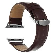 leather watchband w band attachment for apple watch 42mm dark brown