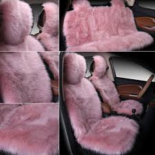 universal car plush seat cover front rear full set warmer protector cushion pink