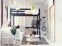 best interior design for bedroom. Black Iron Loft Bed Frame Over White Fabric Sofa Also Unique Drum Shade Hanging Lights In Small Boys Bedroom Best Interior Design For