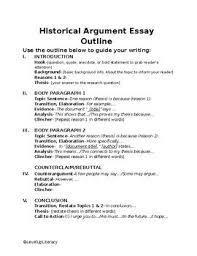 Historical Argument Essay Outline