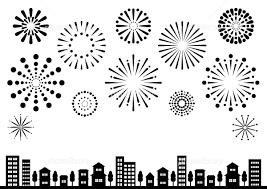 花火と街並 背景イラスト シルエット 黒 イラスト素材 5662729