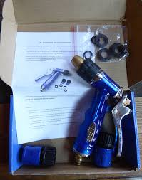 i was send a raaya garden hose nozzle to review it is a high quality professional garden hose sprayer it es with two connectors and extra rings