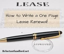 Lease Renewal Letter Cool How To Write A One Page Lease Renewal The Reluctant Landlord