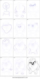 step by step drawing tutorial on how to draw baby taz from baby looney tunes