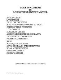 Living Trust Owner S Manual Inserts Coverpages Ultimate Estate