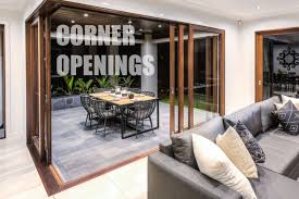 corner openings with timber sliding doors