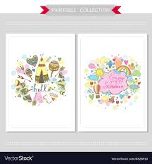 Cute Hand Drawn Doodle Postcards Royalty Free Vector Image