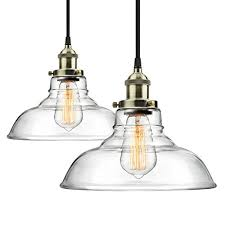 modern industrial lighting fixtures. 2-Pack Pendant Light Hanging Glass Ceiling Mounted Chandelier Fixture, SHINE HAI Modern Industrial Edison Vintage Style Lighting Fixtures E